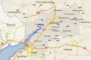 A map of the Severn River, showing locations of Bristol, Gloucester and Cheltenham. Westbury-on-Severn is a red dot at the Northeast curve of the Severn.