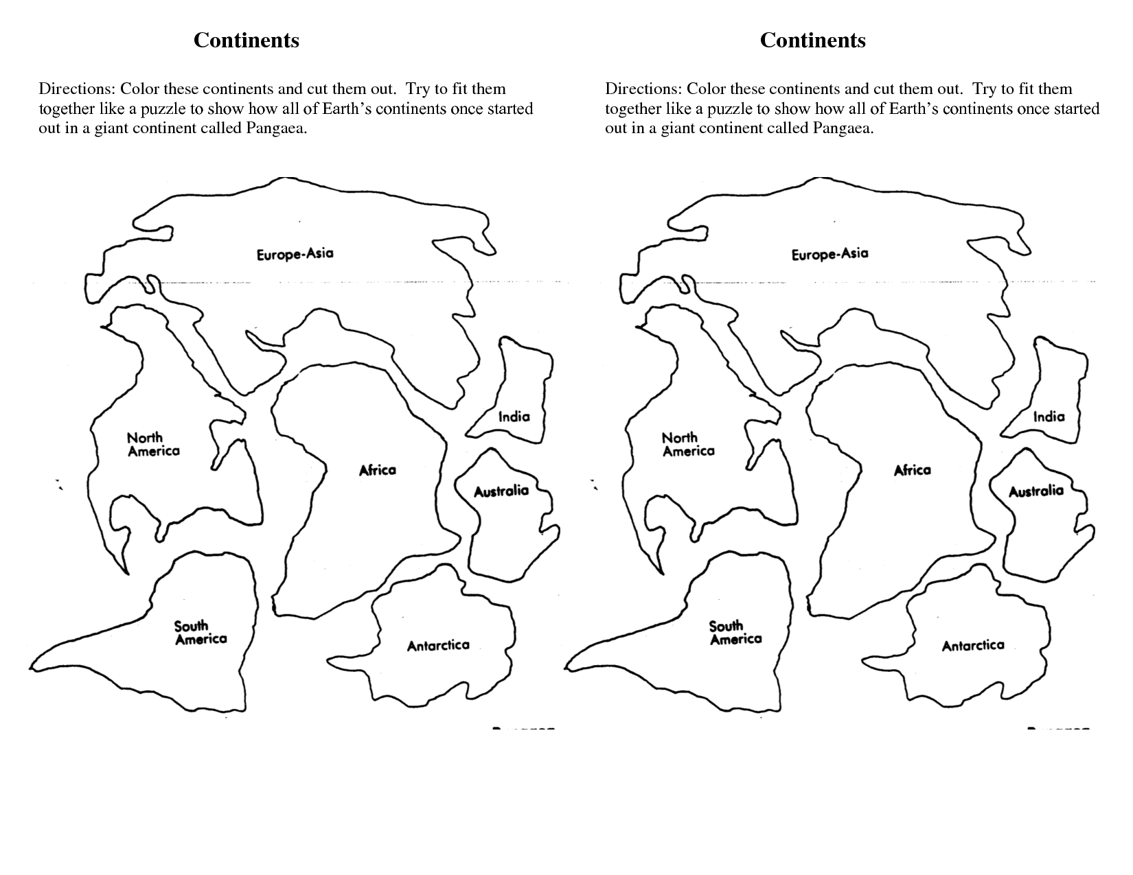 Continents Cut Outs