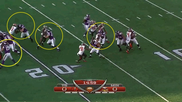 Three blocks on the frontline look to spring Patterson, but Hunter's man makes the tackle as he hits the hole