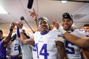 Vikings 2015 Season Is A Success Regardless - Stefon Diggs and Anthony Barr Celebrate
