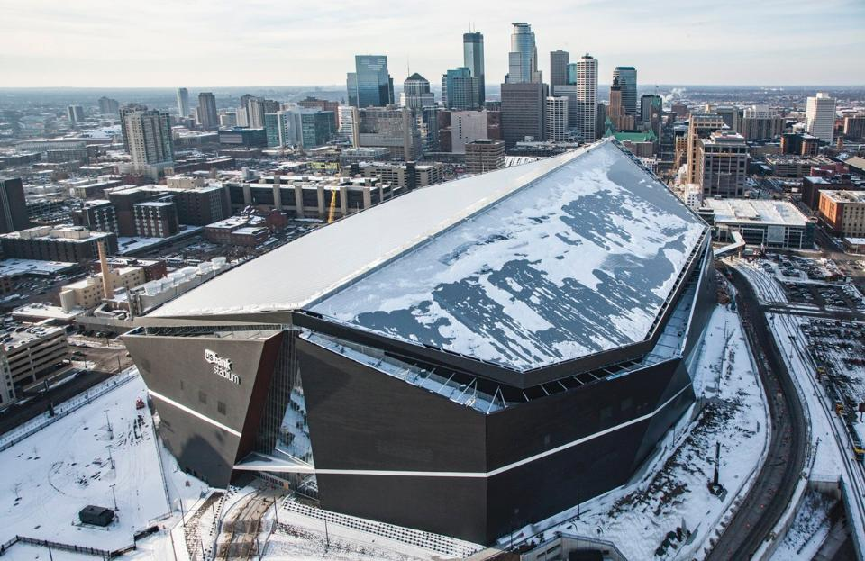 Exterior: Looking Ahead To The Opening Of U.S. Bank Stadium
