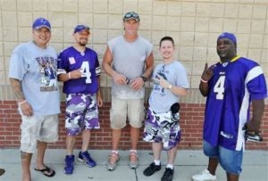 Gruben (second from the right) with Favre and his friends in Mississippi