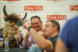 Gruben and coach Zimmer at the FanHQ event last month