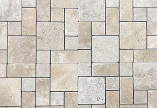 Nougat Mini French Tumbled Travertine Mosaic