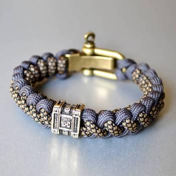 Фото меланжевый браслет из паракорда с 1 бусиной