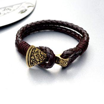 Изображение кожаный браслет с застежкой топор