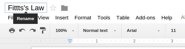 In-place renaming in Google Docs