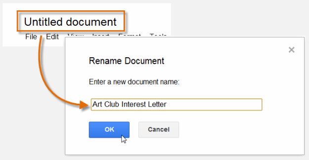 In older Google Docs, you have to move your mouse so fart to complete the rename action.