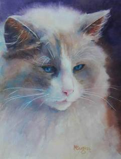 Image of a cat done in watercolor by artist Mary Burgess