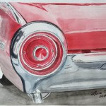 Image of water color of 1962 T Bird by VGA artist Lane W Clem