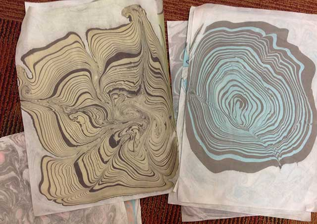 Image of Sumanigashi marbling by Liz Walker