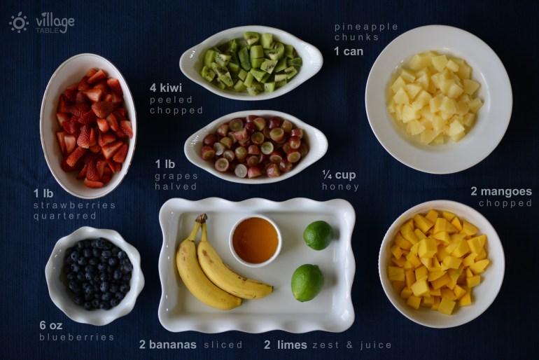 Rainbow Fruit Salad Ingredients