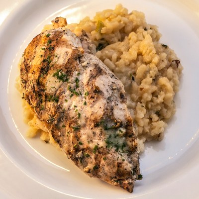 Family Style Lemon Chicken with Parmesan Risotto