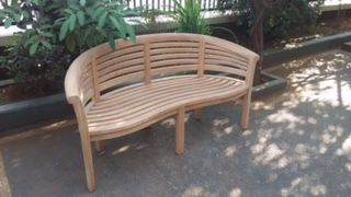 Teak Wave Banana Bench