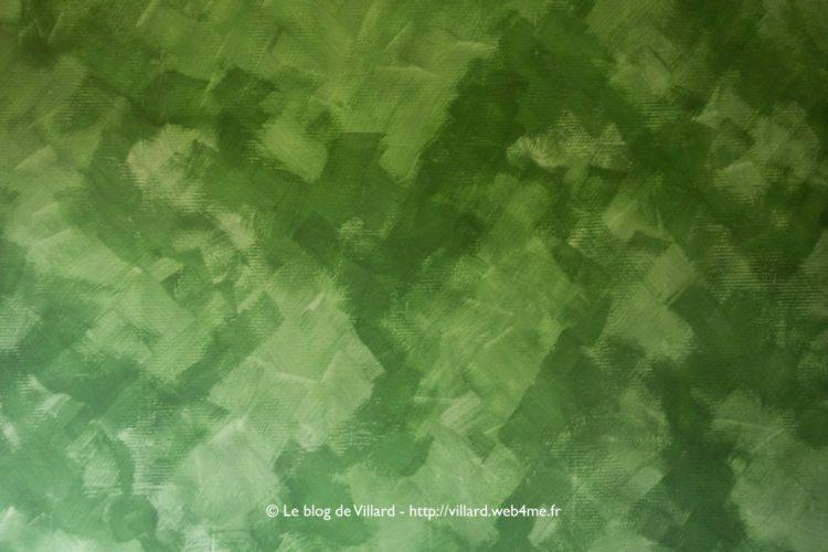 Peinture à la colle de peau teintée au pigment Vert MC : première passe