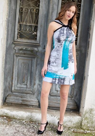 HALTERNECK PRINTED DRESS