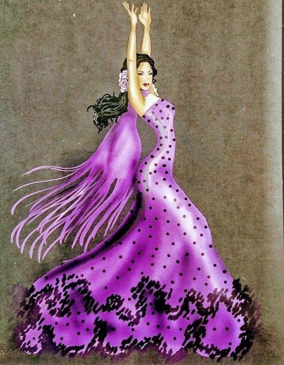 Lila flamencoklänning