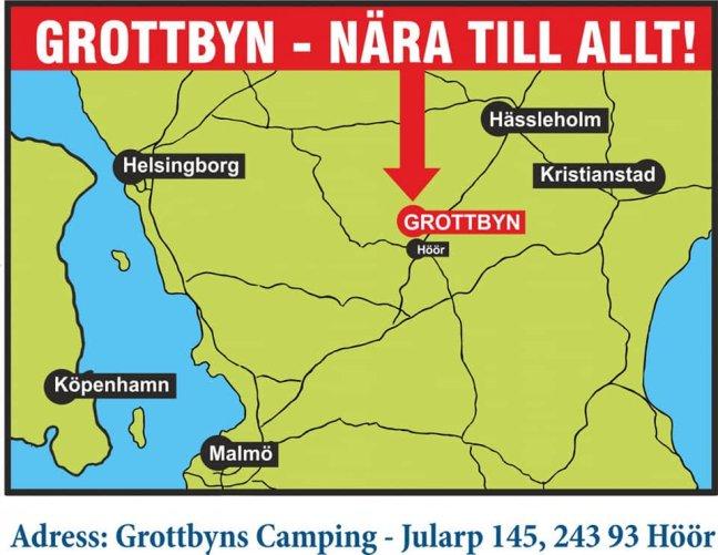 Ritad karta över Skåne och Grottbyn