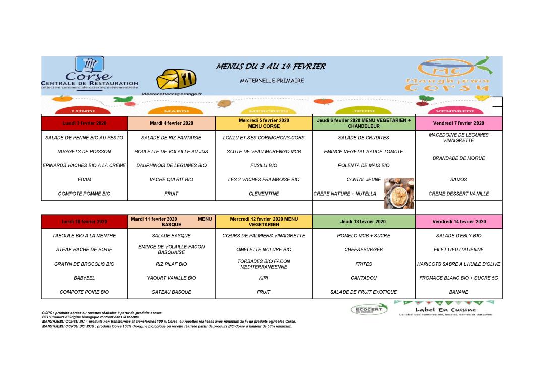 Menus cantine scolaire du 03 au 14 février 2020