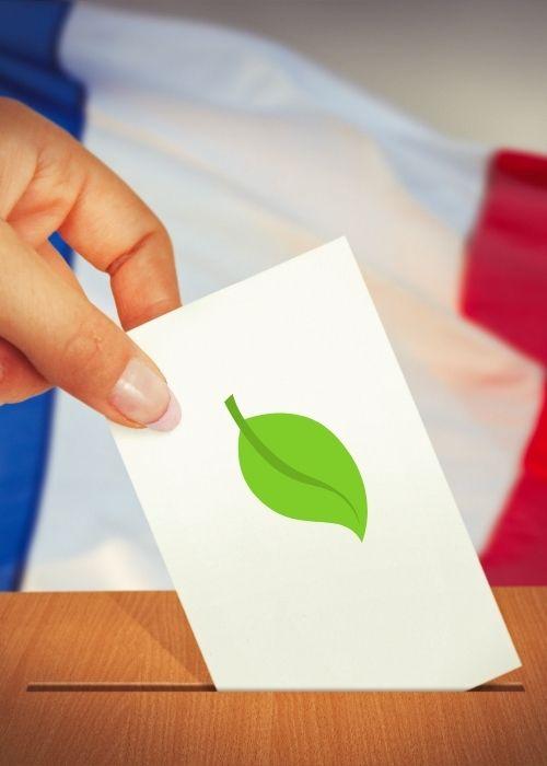 personne mettant un bulletin de vote dans une urne avec un signe de feuille verte sur le bulletin