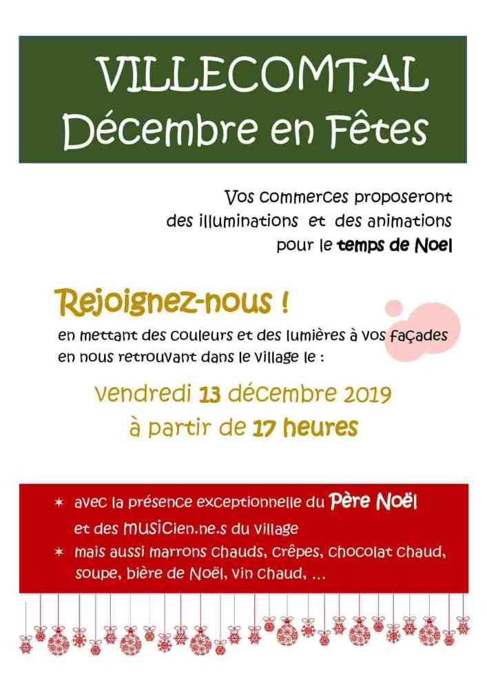 Décembre en fêtes avec les commerçants de Villecomtal