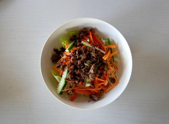 Crispy beef noodle salad