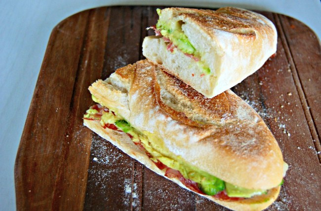 Hot sopressa avocado and cheese roll