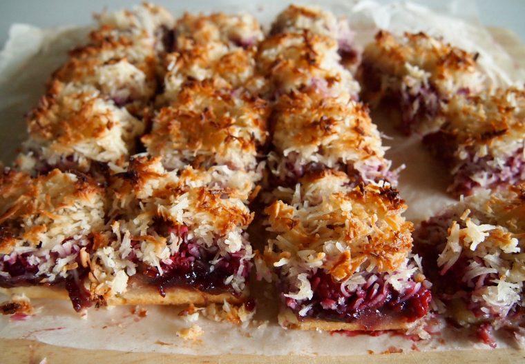coconut raspberry slice