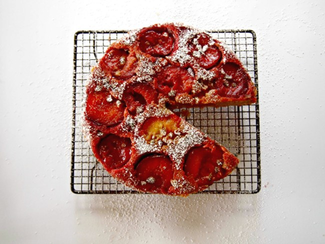 Upside-down plum cake