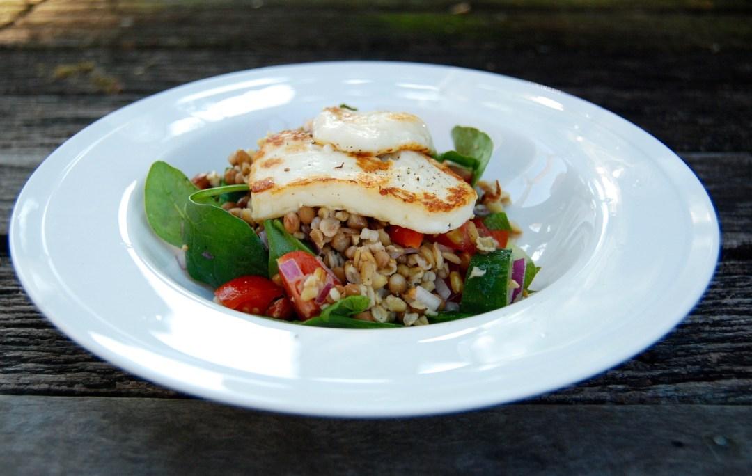 halloumi, lentil and freekeh salad