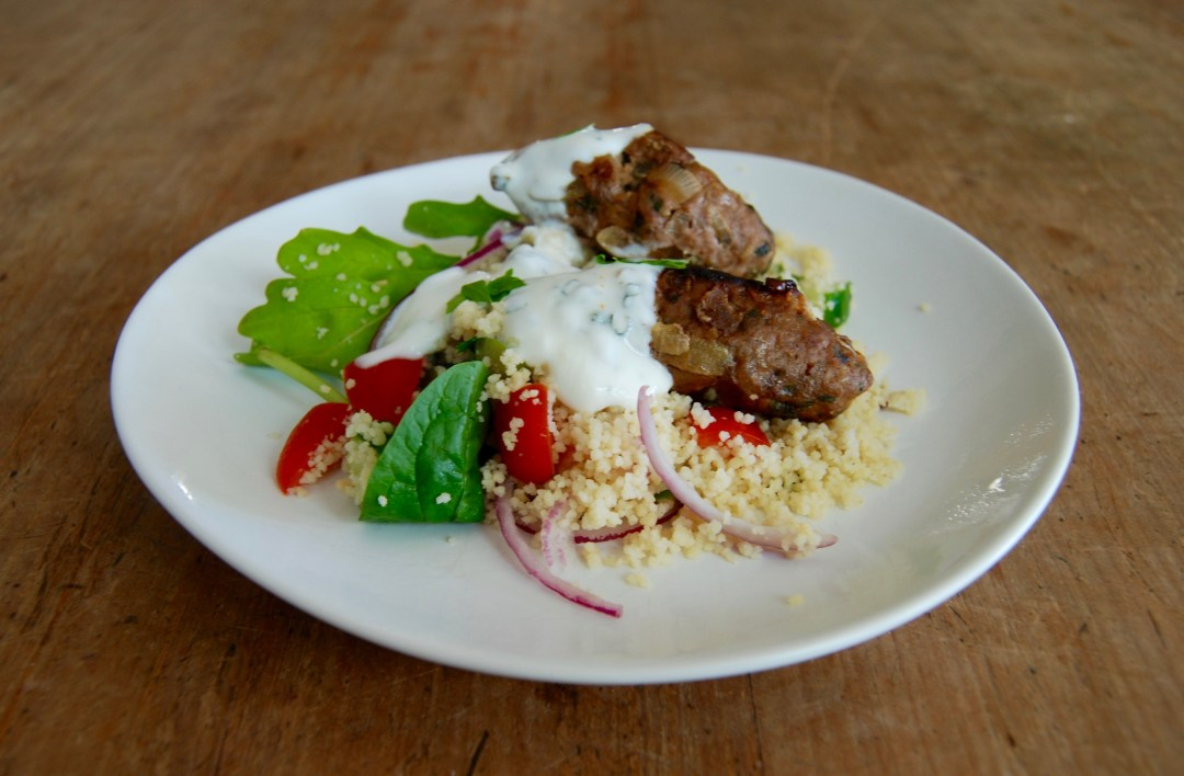 lamb kofta with couscous salad