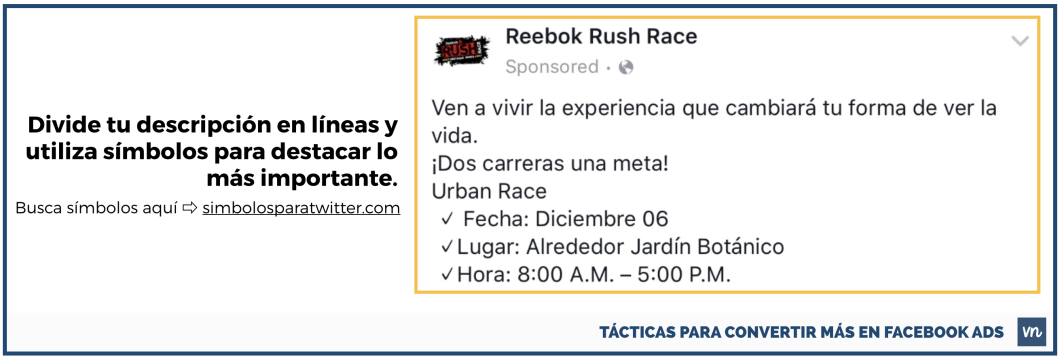 tunea la descripcion avisos facebook ads