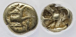PHANES ELECTRUM 1/24 STATER - EARLY HISTORICAL COIN FROM EPHESUS - CHOICE FINE NGC GRADED GREEK IONIA COIN (Inv. 10017)