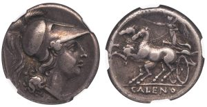 CALES SILVER DIDRACHM - ATTRACTIVE AND PROVENANCED SPECIMEN WITH ATHENA HEAD AND NIKE IN BIGA - CHOICE VF STAR FINE STYLE NGC GRADED GREEK ITALY CAMPANIA COIN (Inv. 12173)