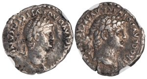 NERO SILVER DRACHM OF CAESAREA - ISSUE HONORING THE DEIFIED CLAUDIUS - XF NGC GRADED ROMAN PROVINCIAL COIN OF THE TWELVE CAESARS (Inv. 12417)