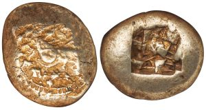 CHIOS OR SAMOS ELECTRUM STATER- SEEMING UNIQUE AND UNPUBLISHED COIN WITH A BOUNDING LION - CHOICE XF NGC GRADED GREEK IONIA COIN (Inv. 4886)