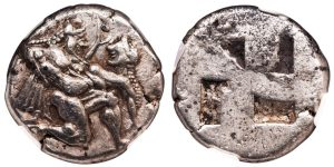 THASOS SILVER STATER WITH ITHYPHALLIC SATYR AND NYMPH - EX MORETTI COLLECTION AND PUBLISHED IN ASYUT 1968 HOARD - CHOICE XF NGC GRADED THRACIAN COIN WITH EXCEPTIONAL PEDIGREE (Inv. 8667)