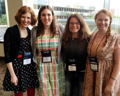 From Left: Stephanie Perkins, book blogger Heidi Zweitel, who helped out this year, book blogger & YA Track Assistant Katie Bartow, and Andrea Cremer.