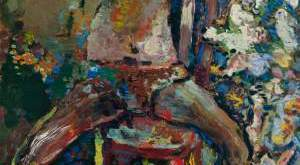 Iliustracijoje: Fleitistė. 1991. Drobė, aliejus, 200x100. Lewben Art Foundation