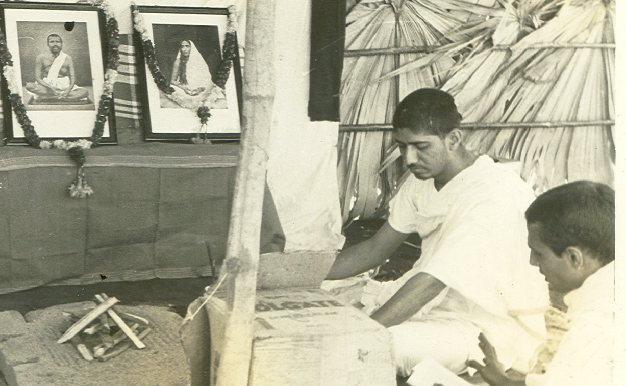 a brahmachari performing hawan for the peace of lives lost during tidal wave devastation