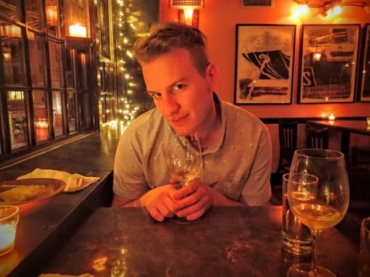 Matthew Morris getting winey at Black Trumpet Portsmouth.