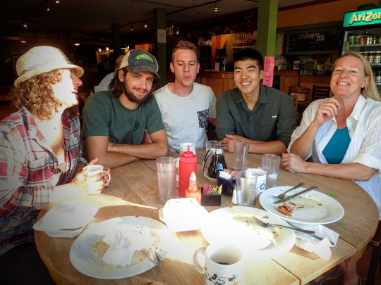 Krystal, Jonny, Morris, Aki, and mom at The Big Bean!