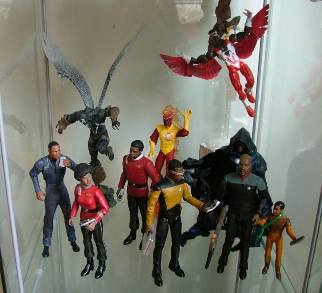 Mayweather from Enterprise, Uhura, Spawn, Capt Tyrell from STII:tWoK, Firestorm, Geordi Laforge, Falcon and Redwing, Cloak, Cmdr Sisko and Jake