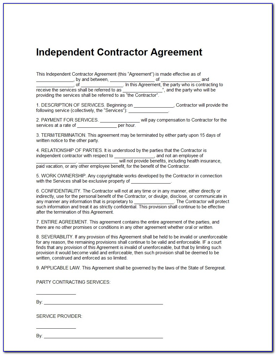 1099 Contractor Agreement Template