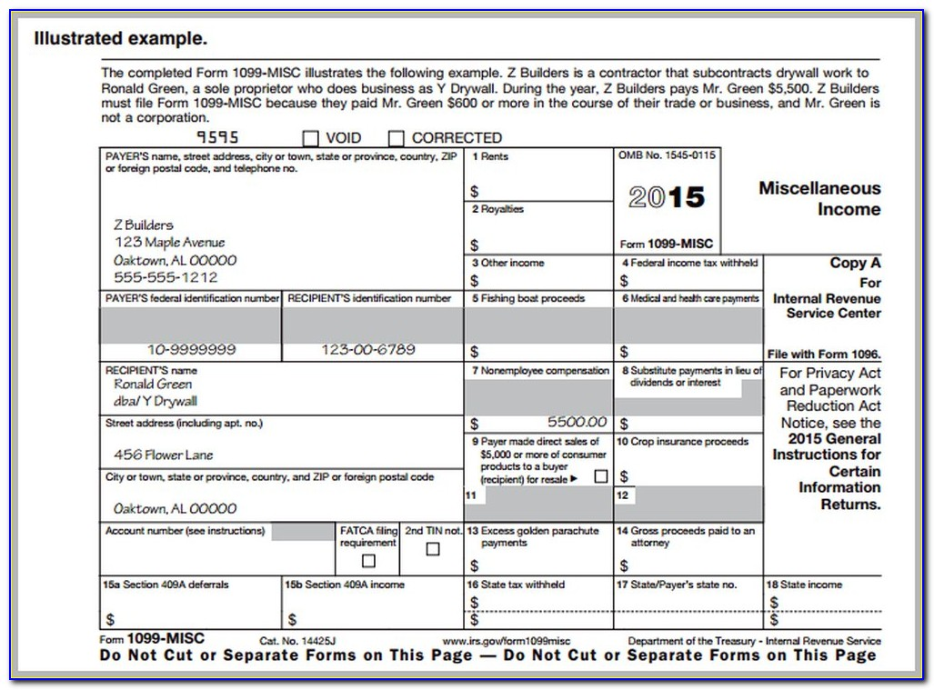 1099 Misc Form 2016 Printable Free