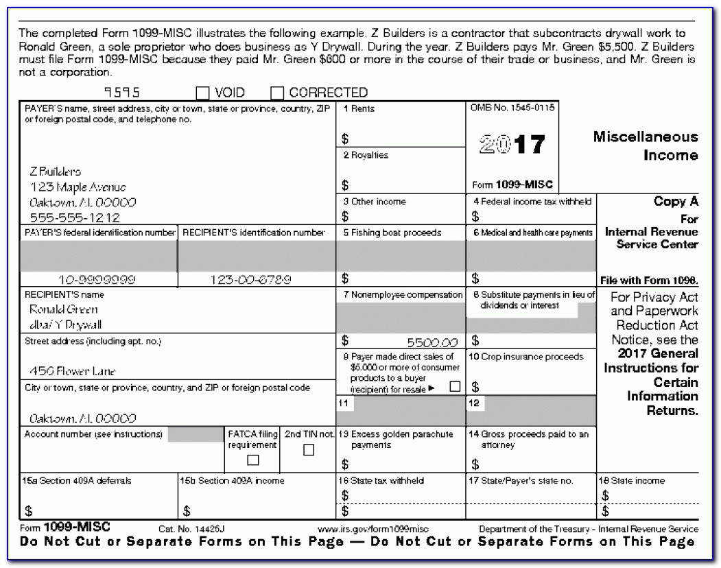 1099 Misc Form Printable 2017
