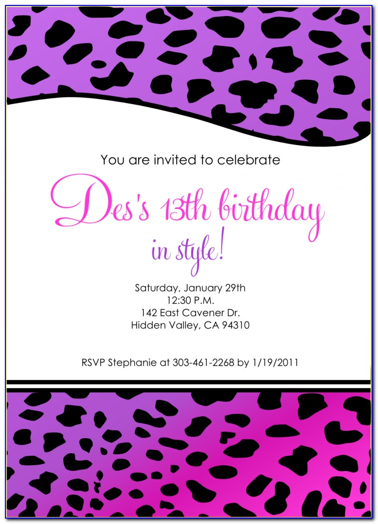 13th Birthday Invitation Wording Samples