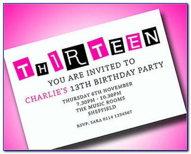 13th Birthday Party Invitations Templates Free