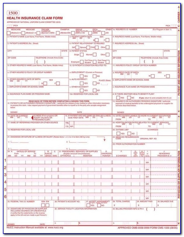 1500 Claim Form Template 1500 Insurance Claim Form Template Inside Cms 1500 Form Printable