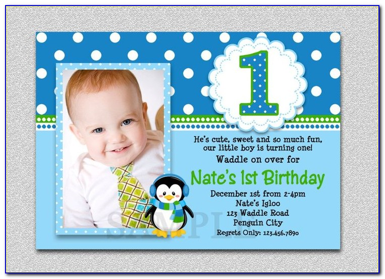 1st Birthday Invitation Card For Baby Boy Template Free